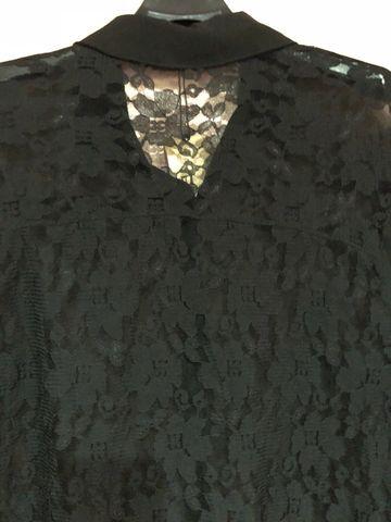 เสื้อผ้าชีฟองสีดำกระดุมหน้ายาวตลอด คอปก-2