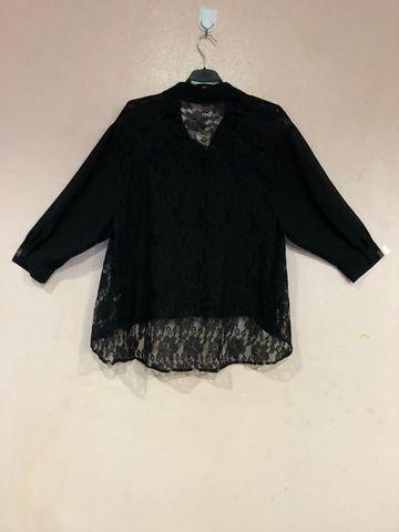 เสื้อผ้าชีฟองสีดำกระดุมหน้ายาวตลอด คอปก-1